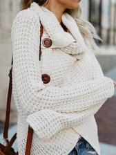 Solid Long Sleeve Turtleneck Cardigan Sweater