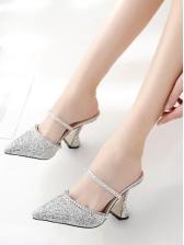 Trendy Diamonds Pointed Toe Slip On Glitter Heels