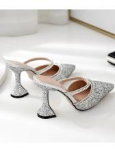 Trendy Rhinestone Pointed Toe Slip On Glitter Heels
