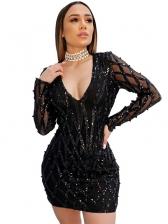 Deep V Neck Black Long Sleeve Sequin Dress