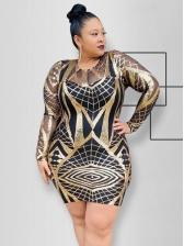 Gauze Patchwork Sequin Long Sleeve Plus Size Dress