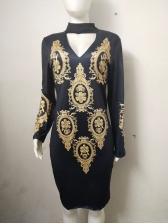 Choker V Neck Printed Long Sleeve Dress