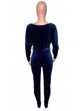 Inclined Shoulder Tie-Wrap Solid Velvet Casual Jumpsuit