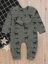 Elk Print Long Sleeve Baby Sleepsuit For Christmas