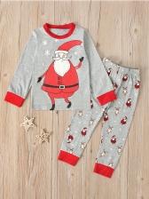 Cartoon Santa Print Gray Two Piece Pants Set For Kids