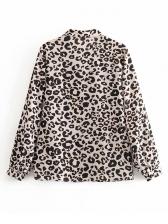 Vintage Long Sleeve Leopard Print Blouse
