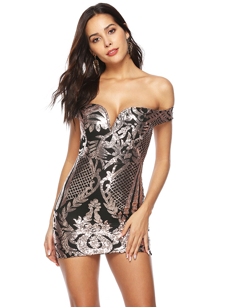 Seductive v Neck Sequin Mini Dress