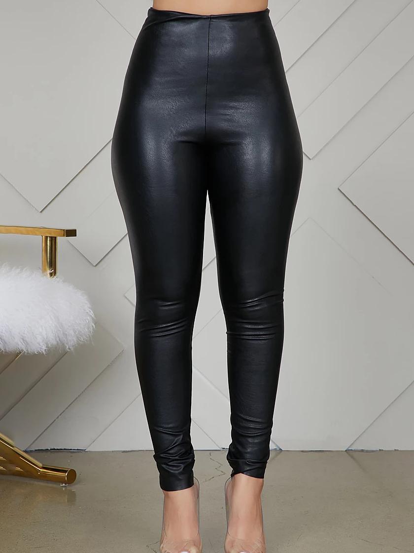 Glossy Pu High Waist Skinny All Black Pants