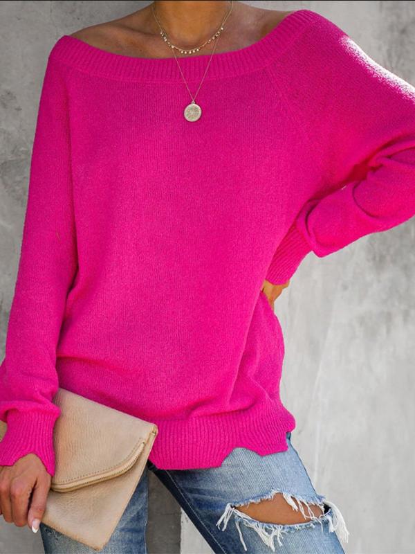 Solid Irregular Hem Crew Neck Sweater