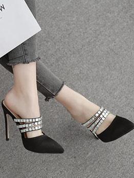 Three Straps Silk Rhinestone Heels