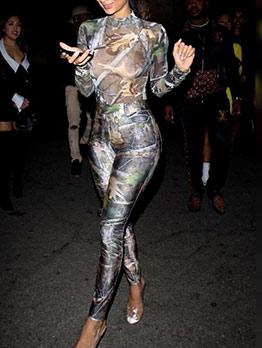 Mock Neck Leaf Printing Ladies Casual Jumpsuits