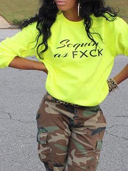 Fluorescent Yellow Letter Printing Pullover Sweatshirt