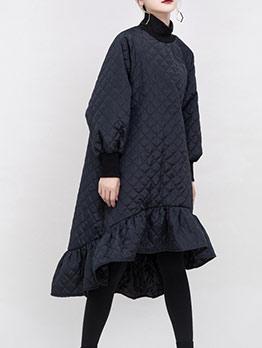 Loose RaglanSleeve Solid Mermaid Long Sleeve Dress