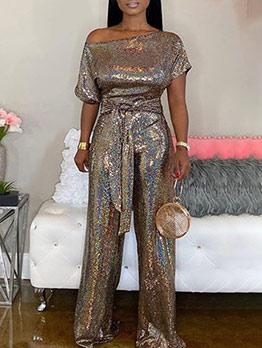Inclined Shoulder Tie-Wrap Glitter Sequin Jumpsuit