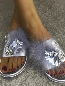 Sequined Stereo Rhinestone Fur Slippers