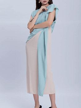 Elegant Color Block Short Sleeve Midi Dress