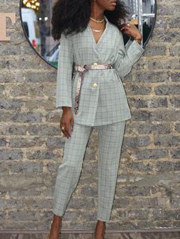 OL Style V Neck Two Piece Plaid Suit Women