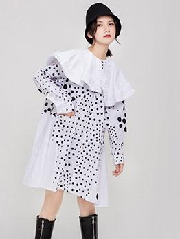 Lacework Patchwork Polka Dots Long Sleeve Dress