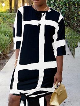 Loose Contrast Color Slit Maxi Dresses For Women