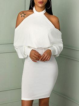 Halter Solid Boycon Long Sleeve Dress