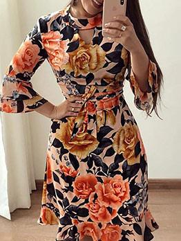 Keyhole Ruffled Hem Flower Pattern Long Sleeve Dress