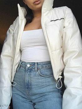 Solid Drawstring Design Zipper Up Puffer Jacket