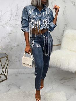 Fashion Tassel Ripped Cropped Denim Jacket