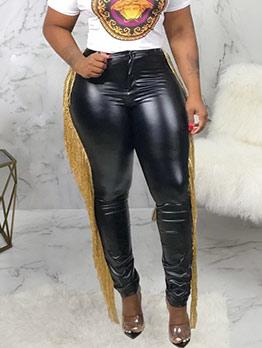 Trendy Side Tassel Decor Leather Pants