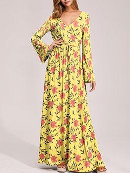 Casual V Neck Maxi Dresses For Women