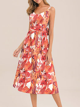 Back Bowknot v Neck Sleeveless Midi Dress