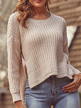 Irregular Hem Pure Color White Sweater