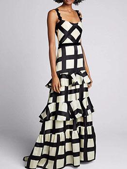 Boutique Contrast Color Plaid Ruffled Summer Maxi Dresses