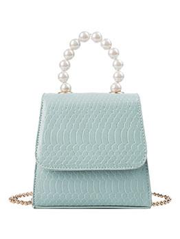 Trapezoidal Faux Pearls Handle Ladies Shoulder Bags