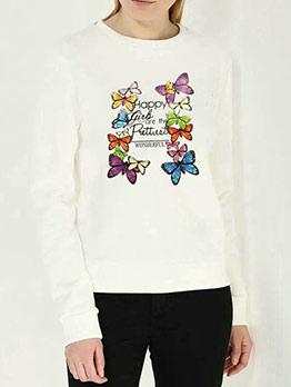 Butterfly Printed Crewneck Sweatshirt
