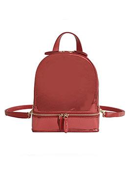 Multiple Zipper Specular Pu Women Small Backpack