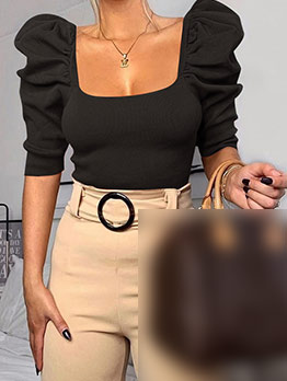 Solid Cropped Ribbed Puff Sleeve T Shirt
