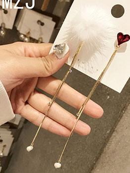 Chic Heart Fuzz Ball Tassel Earrings