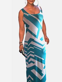 U Neck Print Sleeveless Maxi Dress Causal