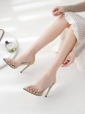Patchwork Rivet Pointed Slip On Transparent Heels
