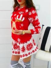 Christmas Elk Snow Printing Long Sleeve Dress