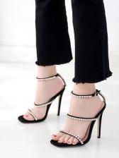 Three Rhinestone Straps Stiletto Heels