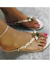 Fashion Honeybee Faux Pearl Decor Flip Flops