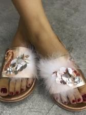 Sequined Stereo Rhinestone Fur Slippers