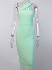 Solid Slit Women Sleeveless Midi Dress