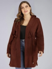 Plus Size Hooded Pockets Ladies Coats