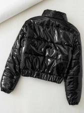 Specular Zipper Up Black Short Winter Coats