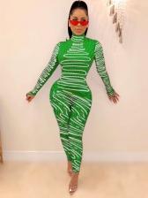Mock Neck Printing Long Sleeve Skinny Jumpsuit