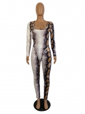 Sexy Snake Printed Bodysuit And Trouser Set
