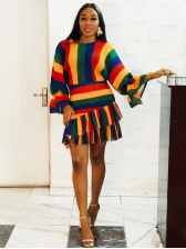 Rainbow Stripes Ruffles Hem Long Sleeve Short Dress