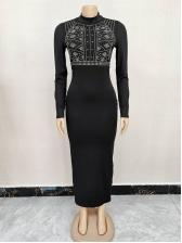 Stylish Rhinestone Decor Long Sleeve Maxi Dress